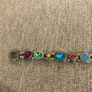 Vintage Silver Multi-Colored Stone Bracelet